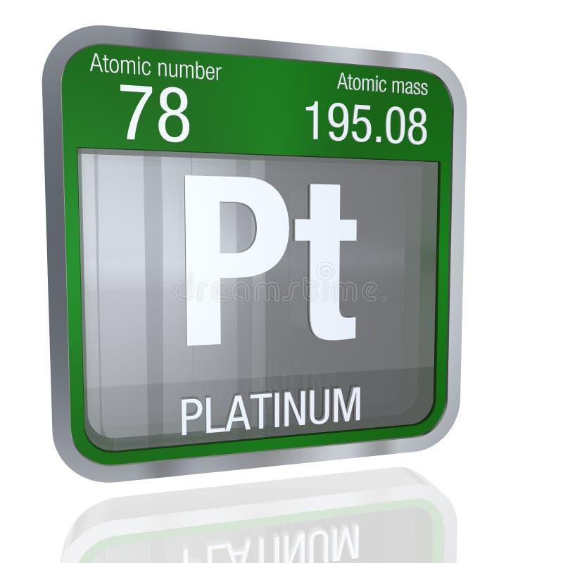 Platinum Symbol In Square Shape With Metallic Border And Transparent