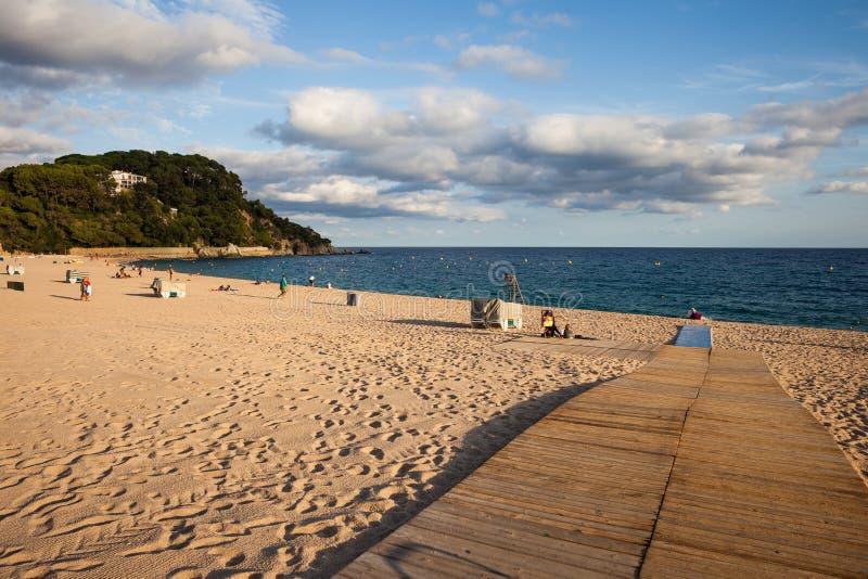 Platja de Fenals Beach在略雷特德马尔在西班牙 免版税库存照片