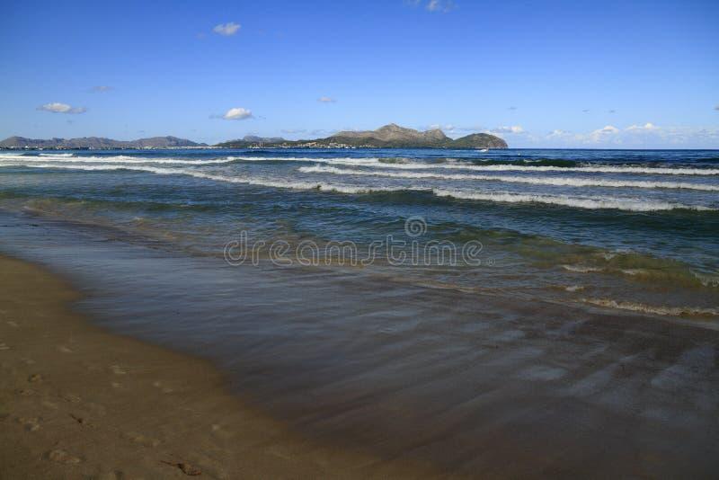 Platja del穆罗角海滩在马略卡巴利阿里群岛 图库摄影