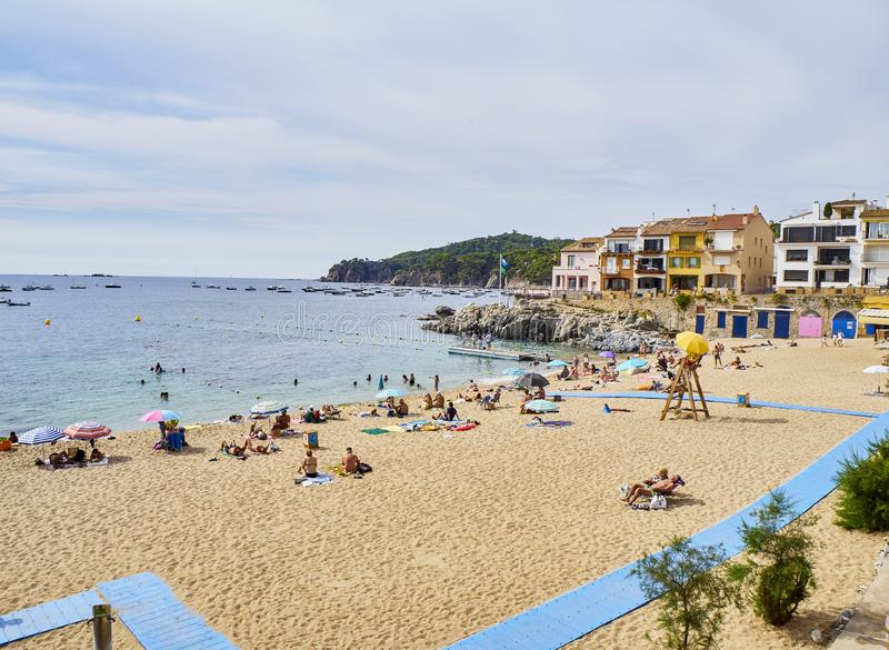 Platja del Canadell, the large beach of Calella de Palafrugell. Catalonia, Spain. royalty free stock photography