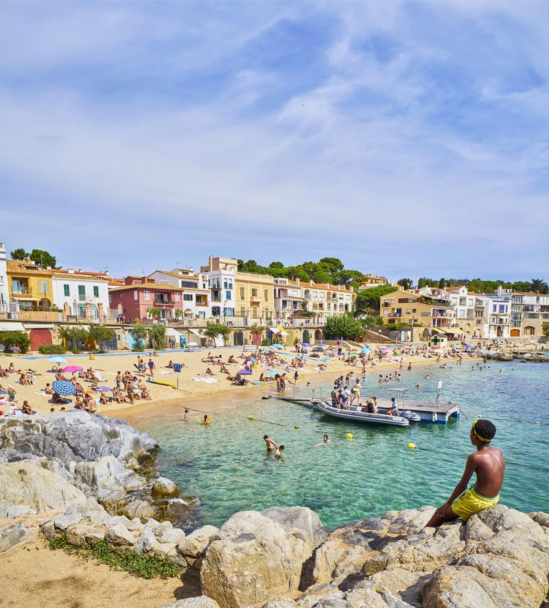 Free Platja Del Canadell, The Large Beach Of Calella De Palafrugell, Costa Brava, Girona, Spain. Stock Images - 132181974