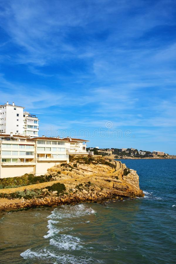Platja dels Llenguadets cove in Salou, Spain royalty free stock photography