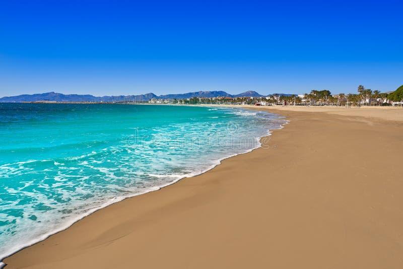 Platja Prat d'En pierwszych planów plaża w Cambrils fotografia royalty free