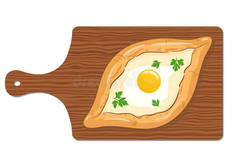 Plato ajarian y georgiano tradicional - khachapuri El pan llenó de queso y del huevo en tabla de cortar de madera Ilustración del libre illustration