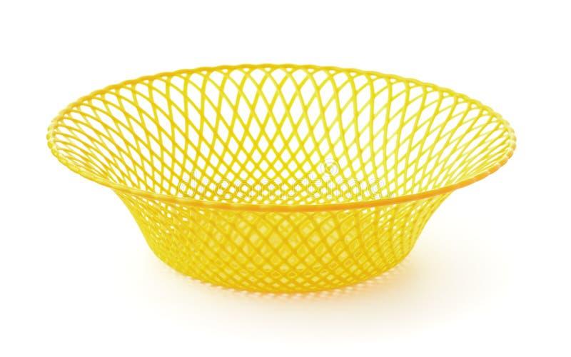 Plato de fruta hueco plástico amarillo vacío imagen de archivo
