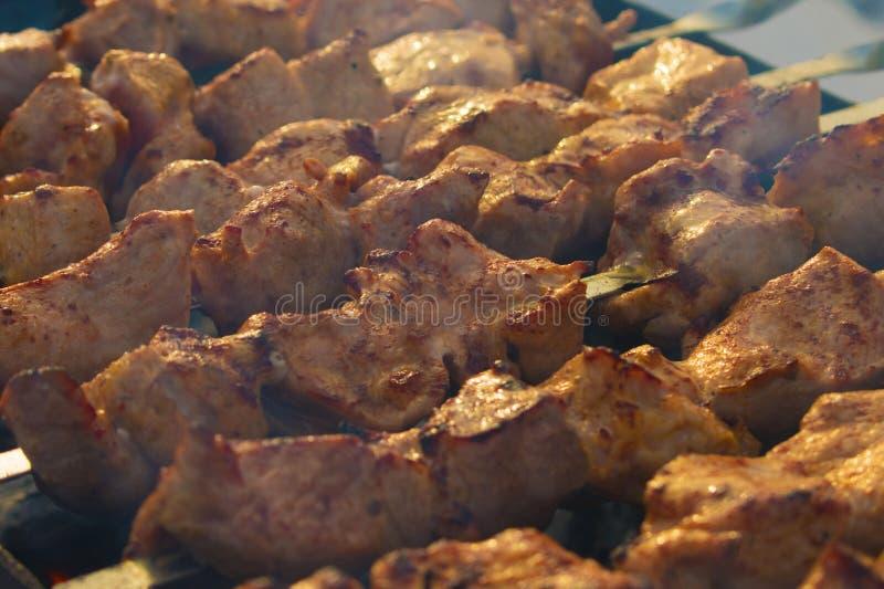 Plato de la parrilla Carne en los carbones Pinchos en el carb?n de le?a fotografía de archivo libre de regalías