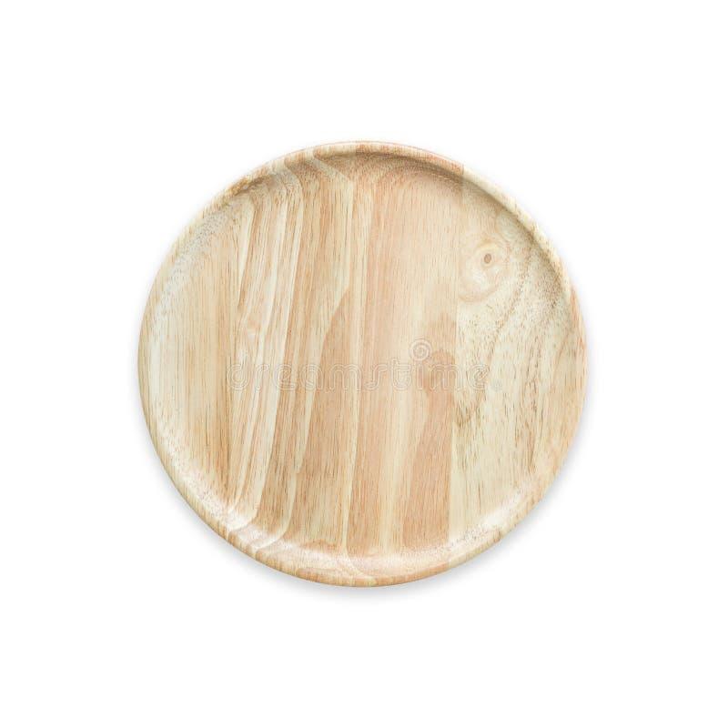 Plato de madera vacío brillante de la visión superior aislado en blanco Ahorrado con fotos de archivo