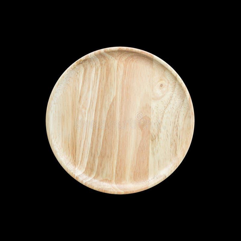 Plato de madera vacío brillante de la visión superior aislado en blanco Ahorrado con imagenes de archivo