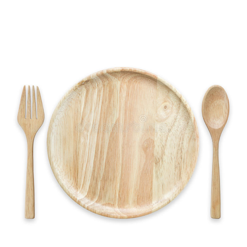 Plato de madera vacío brillante de la visión superior aislado en blanco Ahorrado con foto de archivo libre de regalías