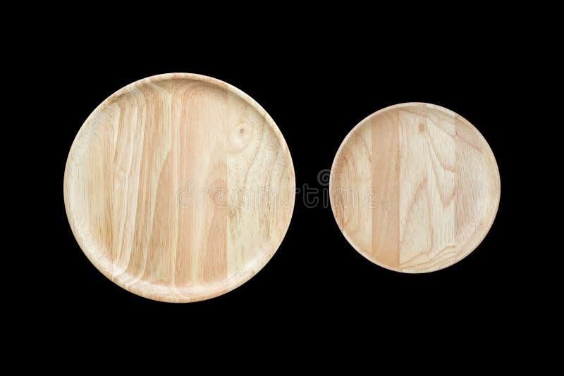 Plato de madera vacío brillante de la visión superior aislado en blanco Ahorrado con imágenes de archivo libres de regalías