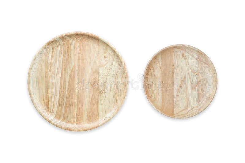 Plato de madera vacío brillante de la visión superior aislado en blanco Ahorrado con imagen de archivo libre de regalías