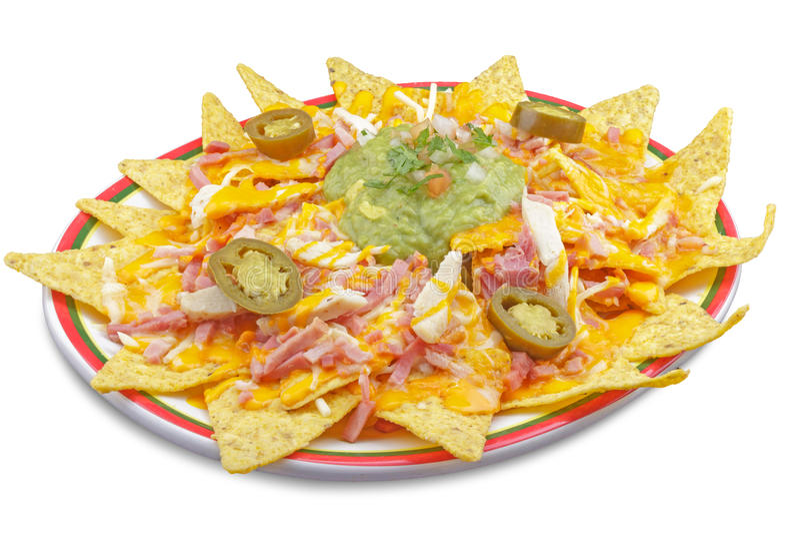 Plato de nachos con queso foto de archivo