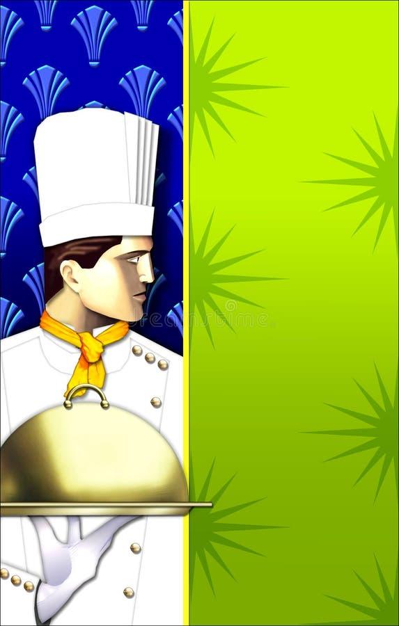 Plato del cocinero w/covered del art déco ilustración del vector