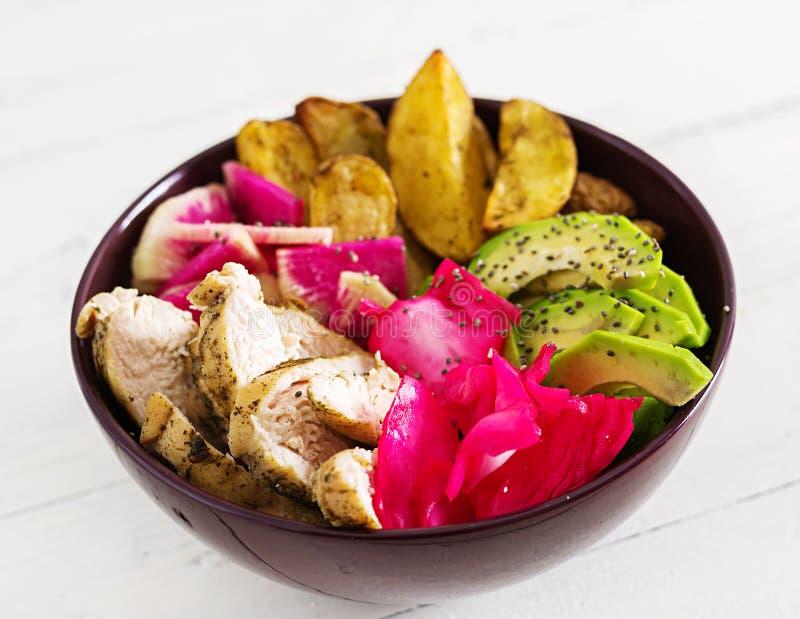 Plato del cuenco de Buda con el prendedero del pollo, patata beked, aguacate, col, rábano de la sandía imagen de archivo