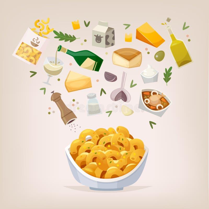 Plato del mac y del queso stock de ilustración