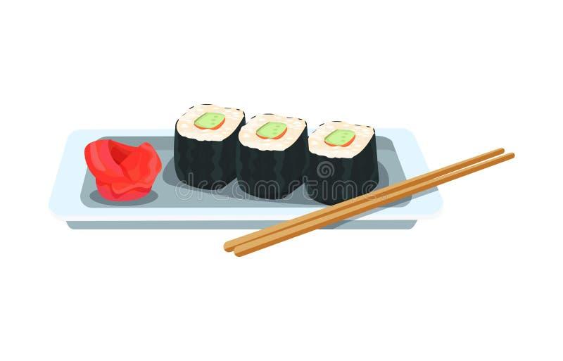 Plato delicioso - rollos y sushi asiáticos, con el jengibre y el wasabi libre illustration