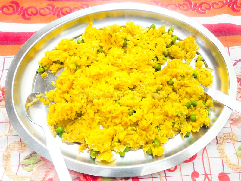 Plato especial indio del arroz de Biriyani fotografía de archivo