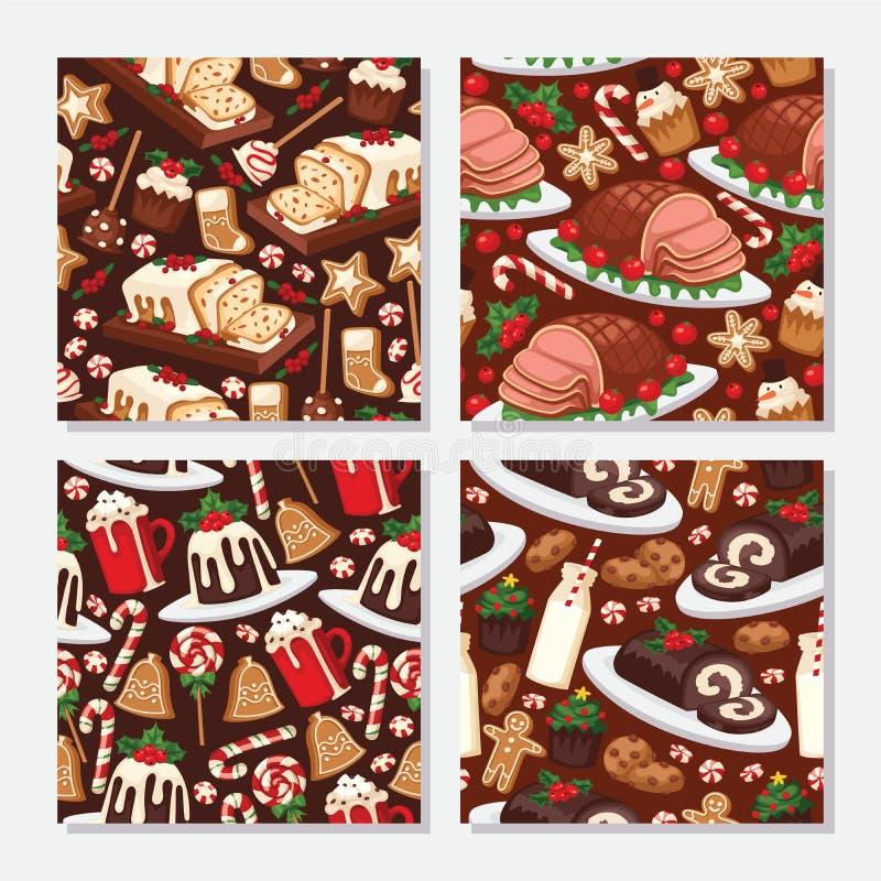 Plato hecho en casa de la celebración de la comida de la Navidad y de Navidad de la decoración del día de fiesta de los postres d ilustración del vector