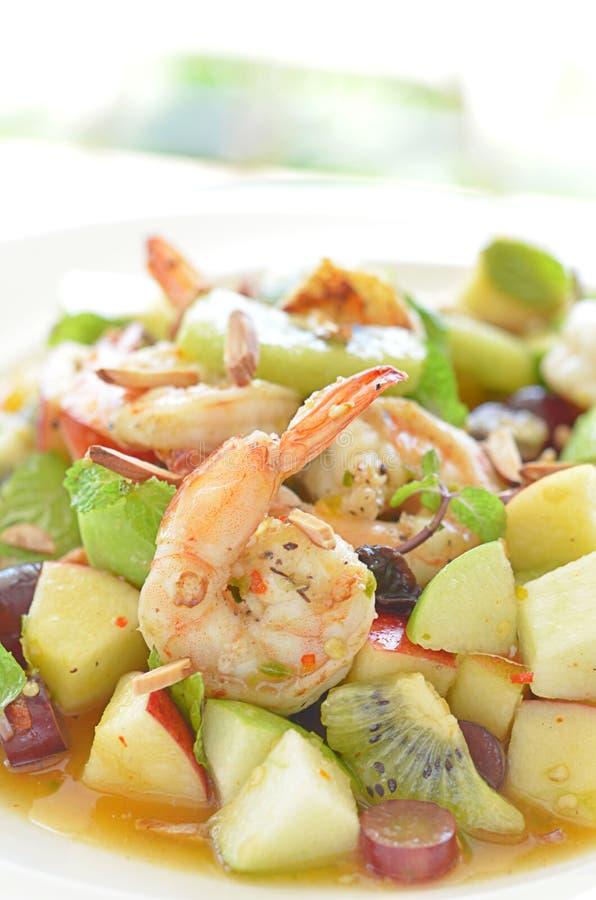 Plato picante de la ensalada del camarón fotografía de archivo