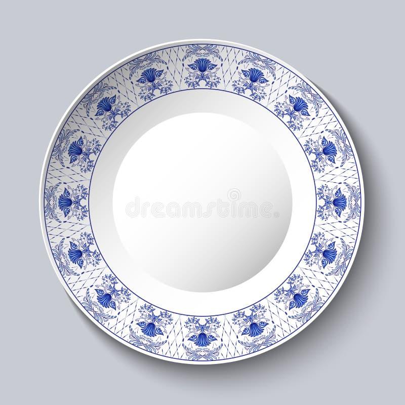 Plato porcellaneous decorativo con el estampado de flores azul en la pintura china del estilo étnico en la porcelana o el estilo  ilustración del vector