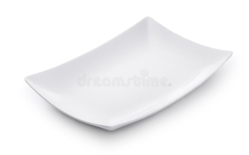 Plato rectangular vacío blanco imagen de archivo