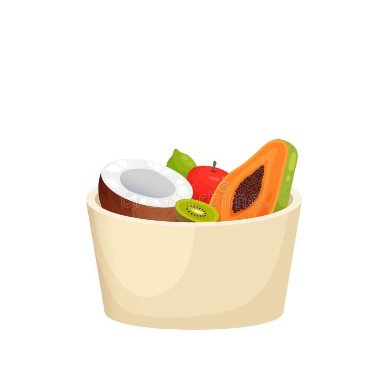 Plato redondo plástico con la manzana roja, papaya cortada, kiwi, coco aislado en el fondo blanco ilustración del vector