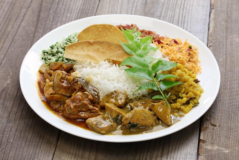 Plato srilanqués del arroz y del curry fotos de archivo
