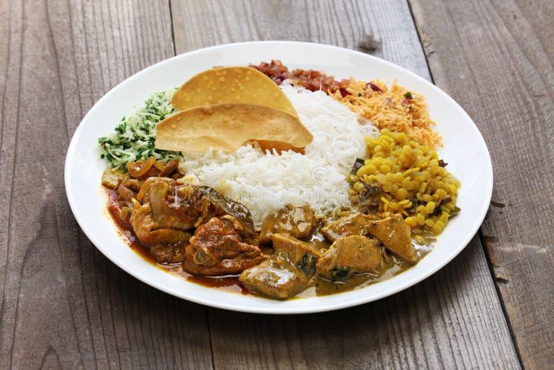 Plato srilanqués del arroz y del curry imagen de archivo