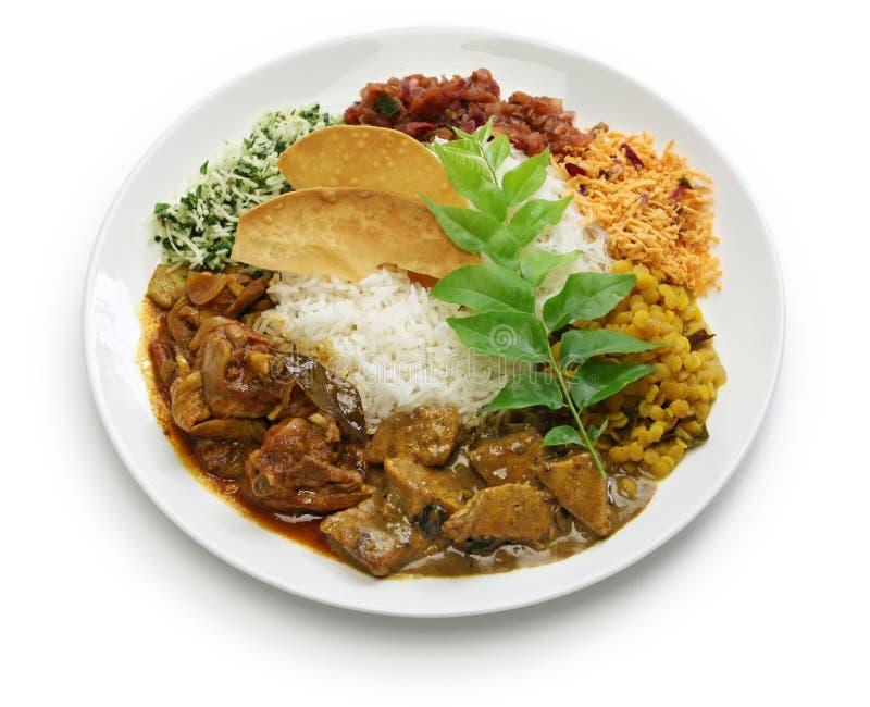 Plato srilanqués del arroz y del curry fotos de archivo libres de regalías