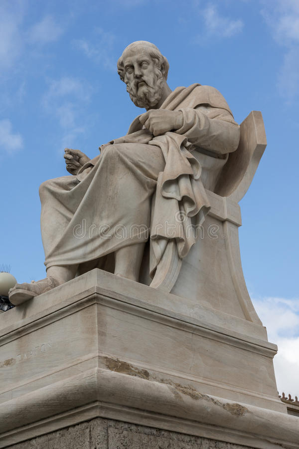 Plato statue in front of Academy of Athens, Greece stock photos