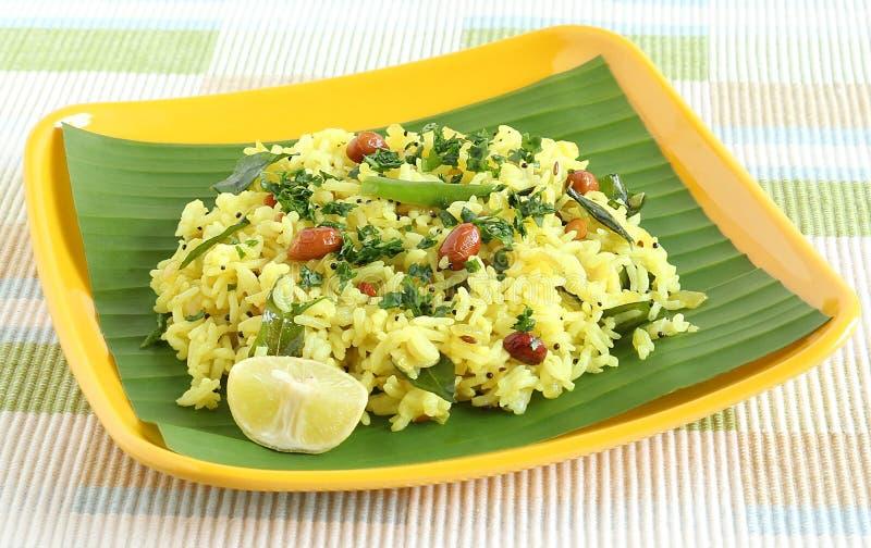 Plato tradicional y popular indio del sur del arroz, arroz del limón fotografía de archivo