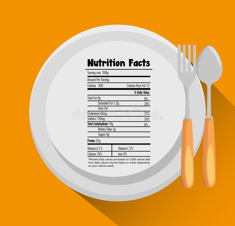 Plato y cubiertos con hechos de la nutrición stock de ilustración