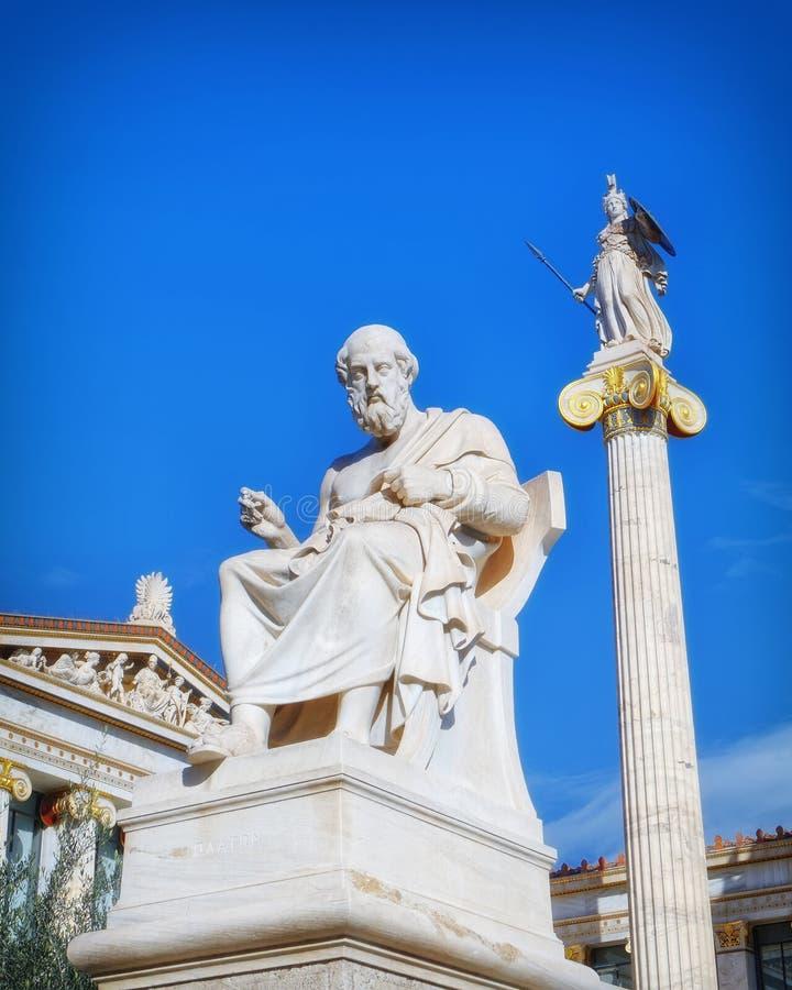 Platon le philosophe et l'Athéna la déesse de la sagesse et de la connaissance photographie stock