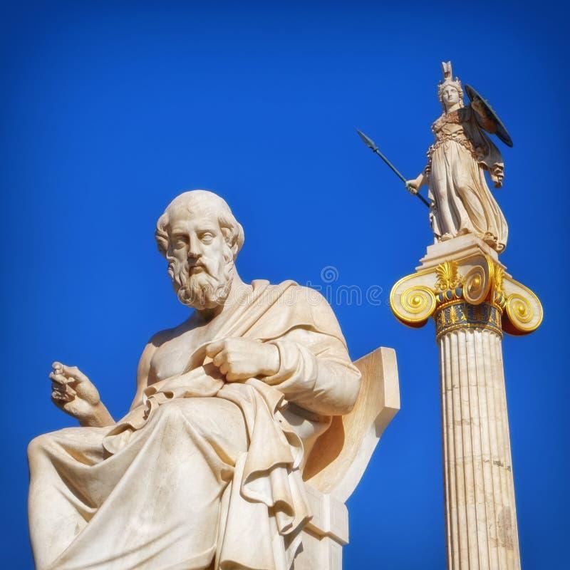 Platon le philosophe et l'Athéna la déesse de la sagesse et de la connaissance, Athènes Grèce photo stock