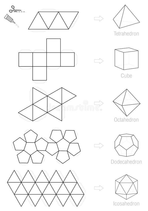 platonic solids craft pattern template stock vector