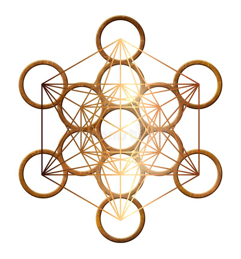 Platonisch de meetkunde heilig gouden koper van de Metatronkubus vector illustratie