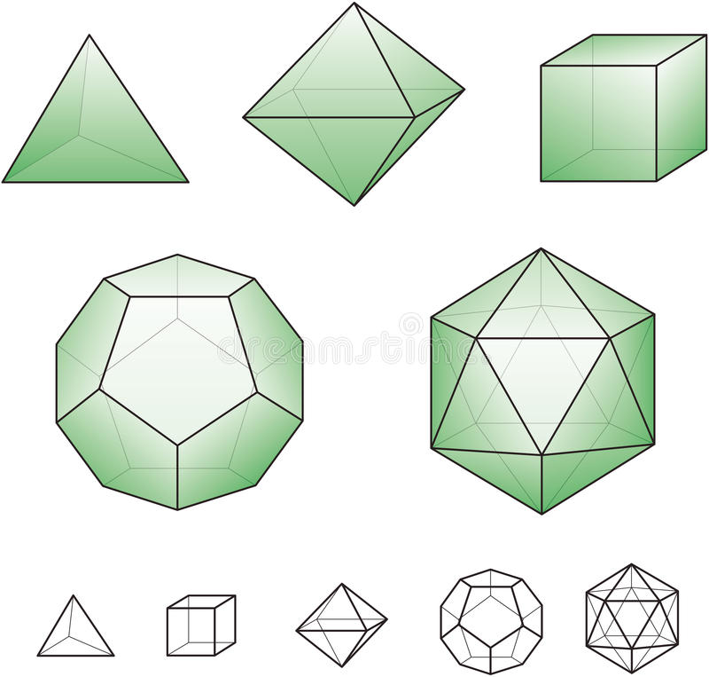Platonische Körper Mit Grünen Oberflächen Stockfotografie