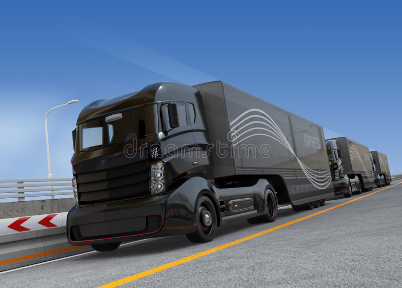 Platoon driving of autonomous hybrid trucks driving on highway. 3D rendering image stock illustration