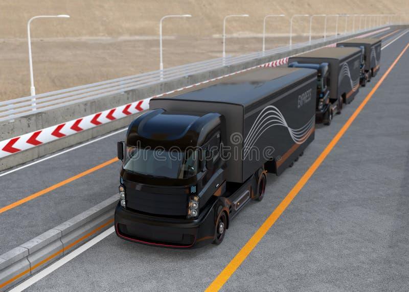 Platoon driving of autonomous hybrid trucks driving on highway. 3D rendering image vector illustration