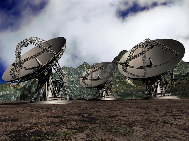 Platos basados en los satélites ilustración del vector