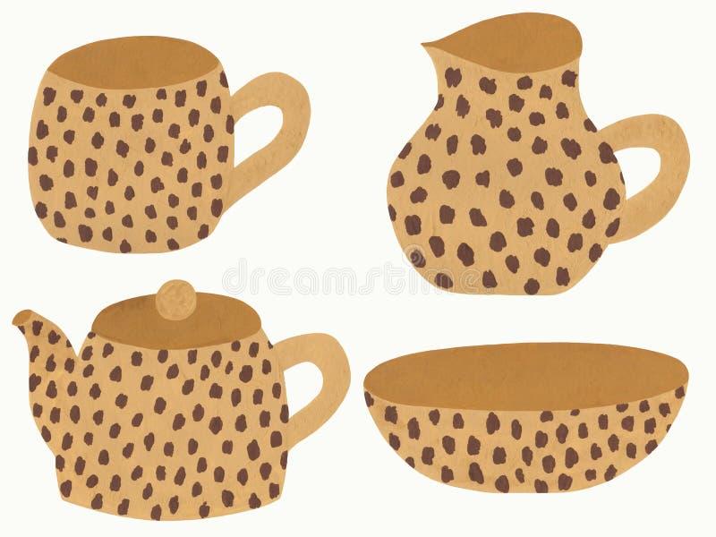Platos beige con el estampado leopardo stock de ilustración