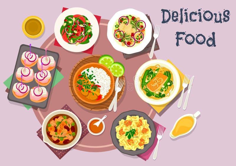 Platos calientes de la carne con bocado de los pescados y el icono de las ensaladas libre illustration