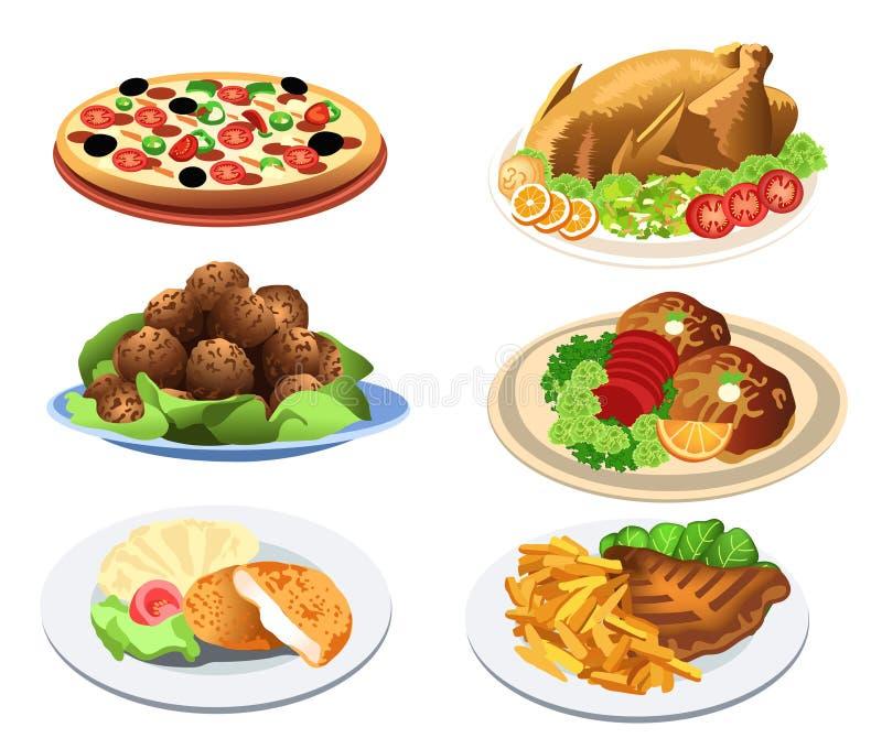 Platos del alimento ilustración del vector