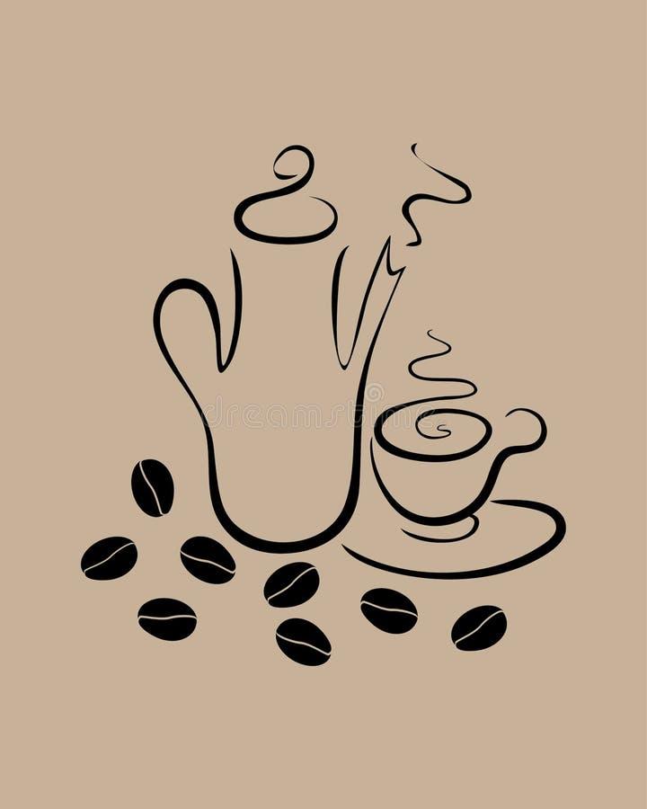 Platos del café en un fondo beige stock de ilustración