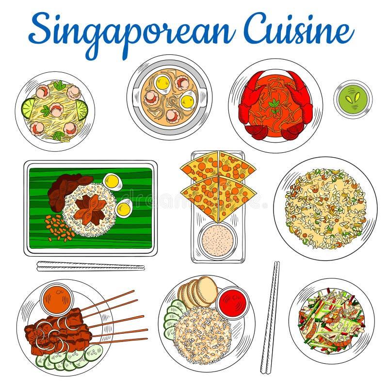 Platos nacionales del icono singapurense del bosquejo de la cocina stock de ilustración