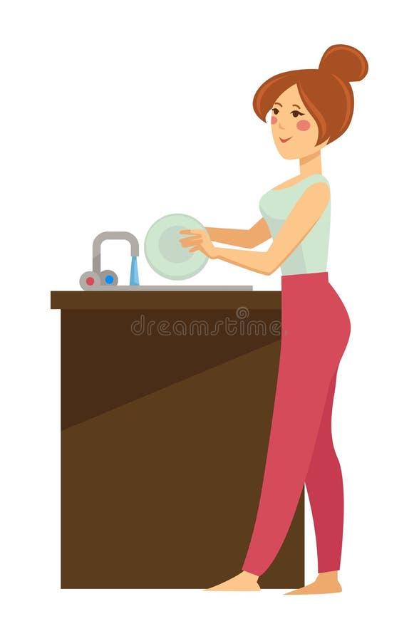 Platos que se lavan de la mujer en carácter femenino aislado rutina diaria del fregadero libre illustration