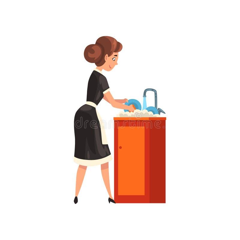 Platos que se lavan sonrientes de la criada en la cocina, el carácter de la criada llevando el uniforme clásico con el vestido ne libre illustration