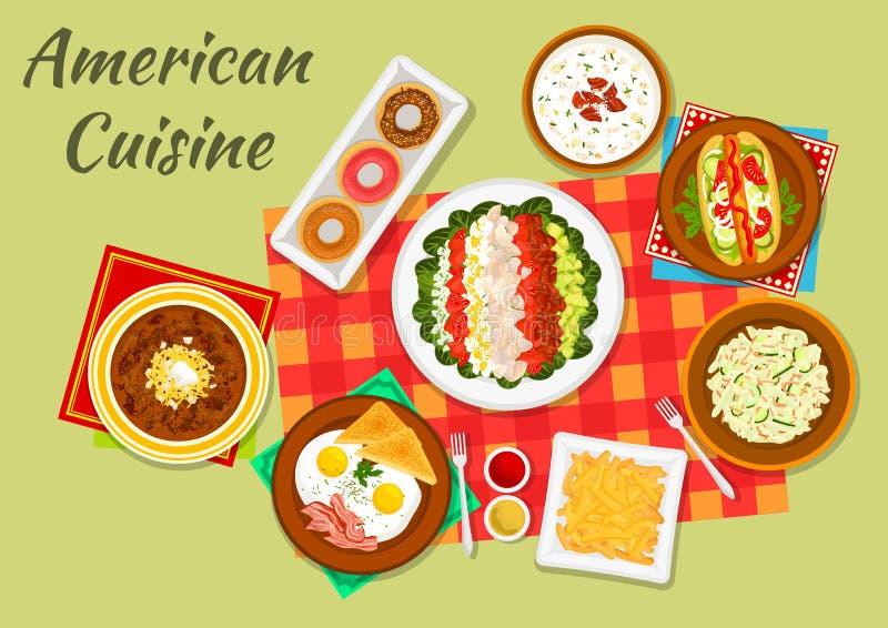 Platos típicos del icono americano de la cena de la cocina libre illustration