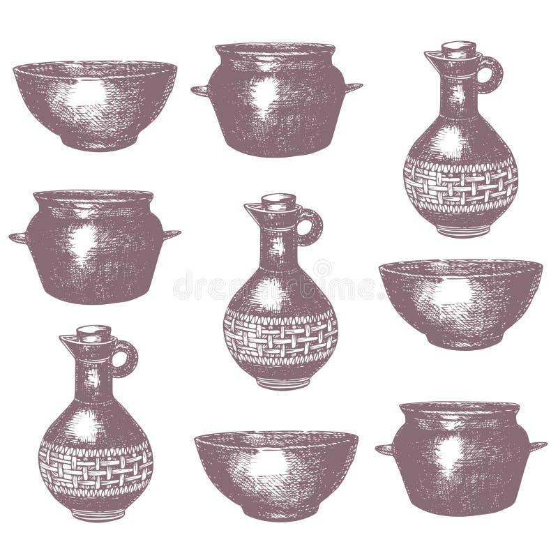 Plats à cuire tirés par la main vides, illustration de vecteur