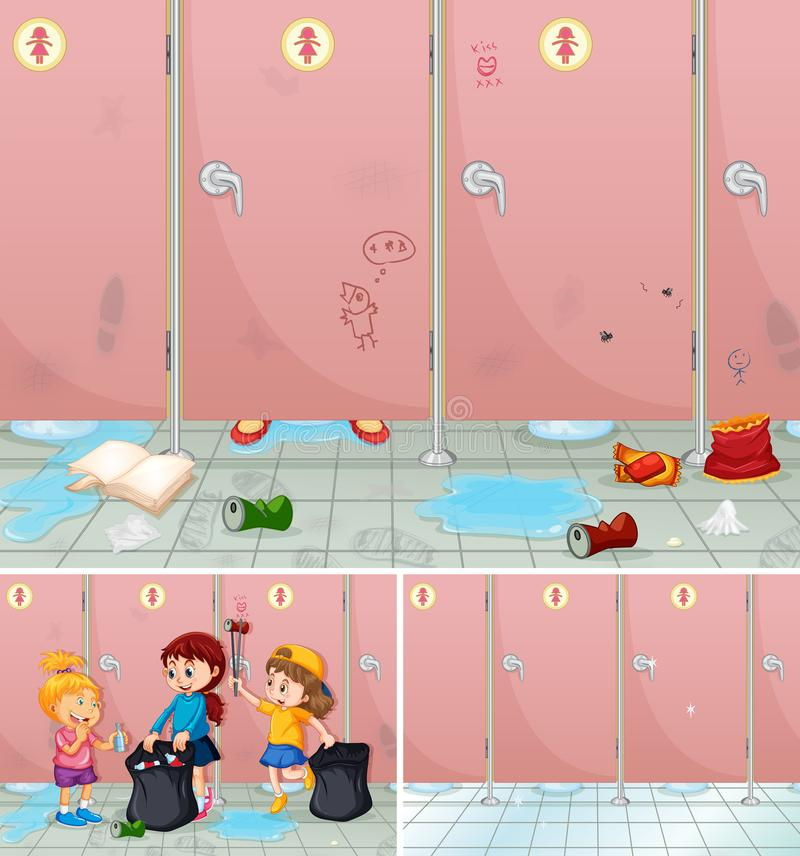 Plats av barn som gör ren ett badrum royaltyfri illustrationer